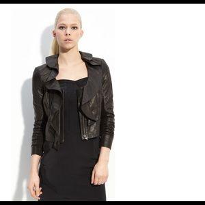 Leith black motorcycle leather ruffled jacket